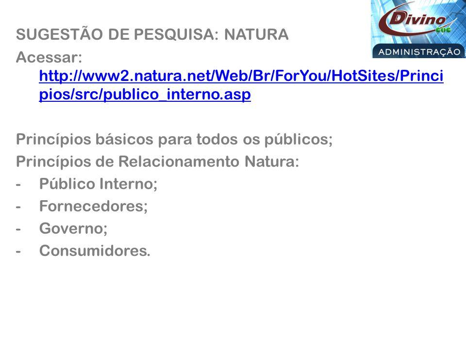 SUGESTÃO DE PESQUISA: NATURA Acessar: http://www2.natura.net/Web/Br/ForYou/HotSites/Princi pios/src/publico_interno.asp http://www2.natura.net/Web/Br/ForYou/HotSites/Princi pios/src/publico_interno.asp Princípios básicos para todos os públicos; Princípios de Relacionamento Natura: -Público Interno; -Fornecedores; -Governo; -Consumidores.