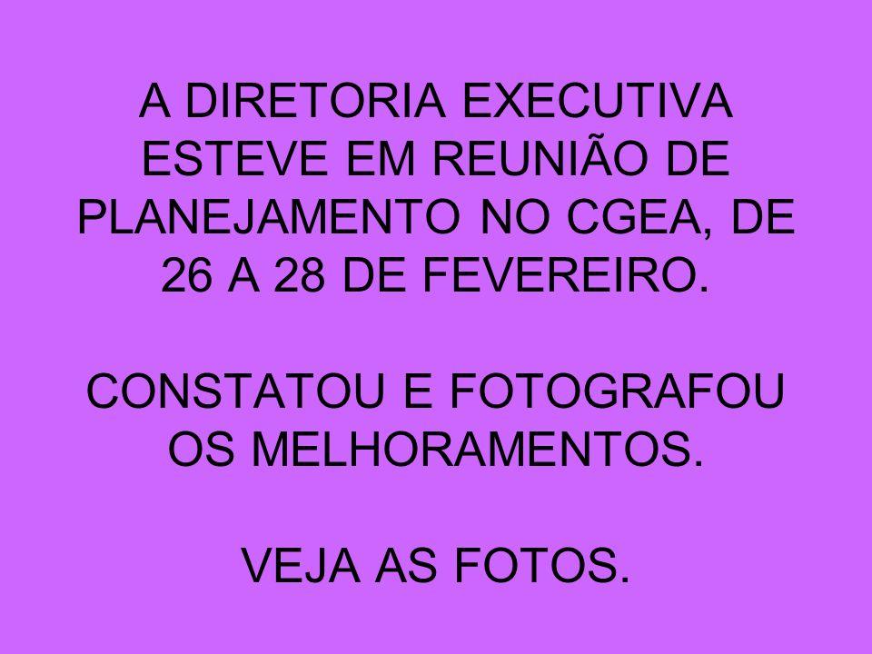 A DIRETORIA EXECUTIVA ESTEVE EM REUNIÃO DE PLANEJAMENTO NO CGEA, DE 26 A 28 DE FEVEREIRO.