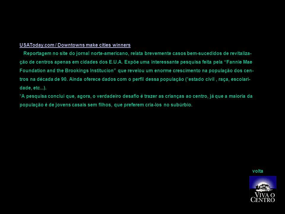Site Vitruvius- Arquitextos / Vicente del Rio O texto do urbanista e professor doutor da UFRJ aborda as mais recentes intervenções em centros urbanos que, diferente da lógica modernista, levam em conta a riqueza sócio-cultural desses espaços.