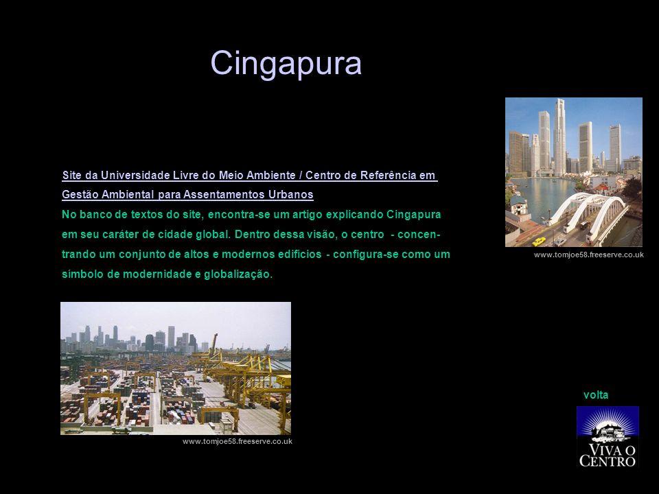 Site da Universidade Livre do Meio Ambiente / Centro de Referência em Gestão Ambiental para Assentamentos Urbanos No banco de textos do site, encontra-se um artigo explicando Cingapura em seu caráter de cidade global.