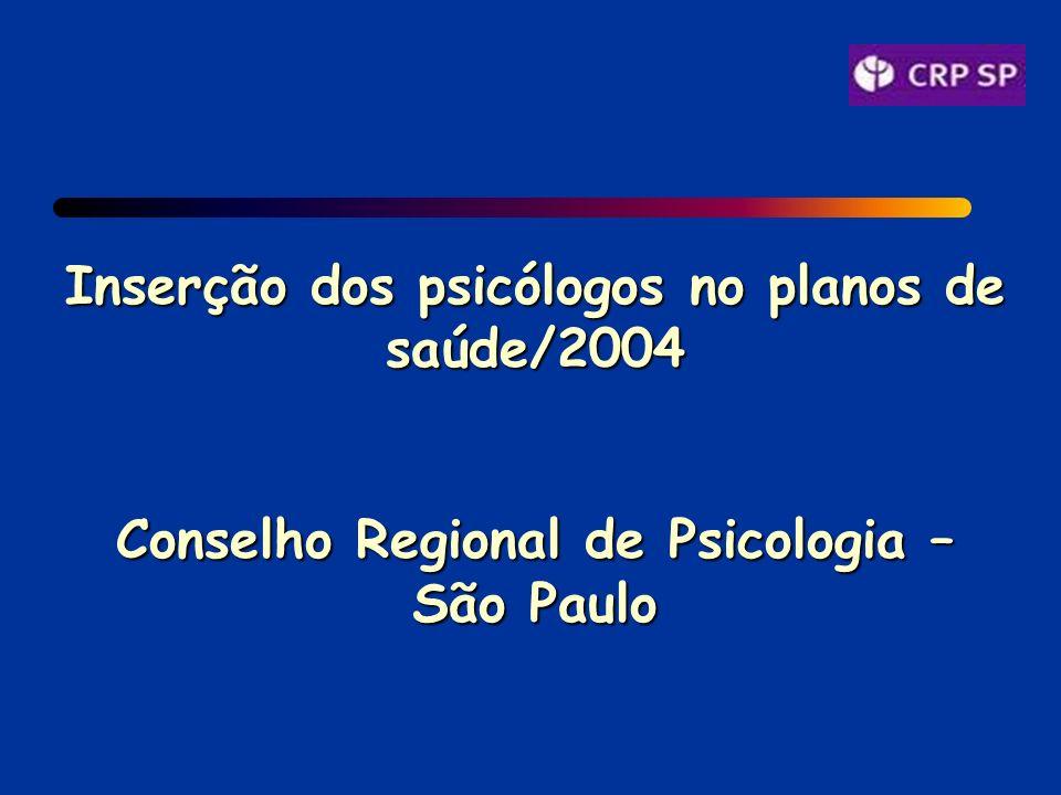 Inserção dos psicólogos no planos de saúde/2004 Conselho Regional de Psicologia – São Paulo