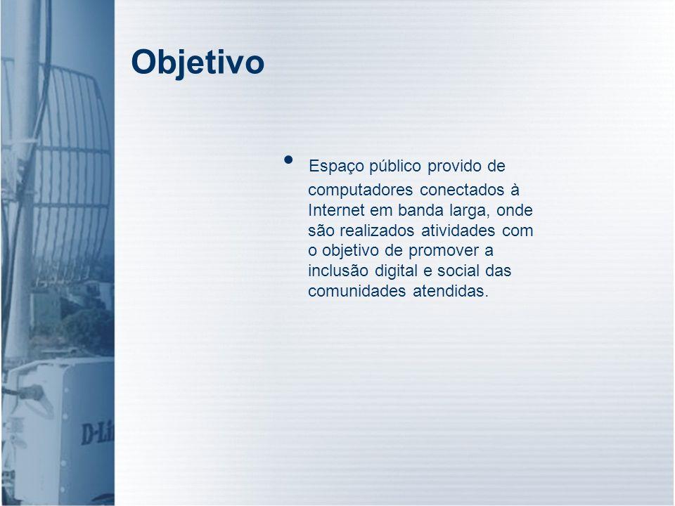 Objetivo Espaço público provido de computadores conectados à Internet em banda larga, onde são realizados atividades com o objetivo de promover a incl