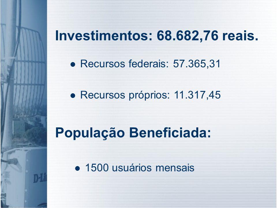 Investimentos: 68.682,76 reais. 1500 usuários mensais População Beneficiada: Recursos federais: 57.365,31 Recursos próprios: 11.317,45