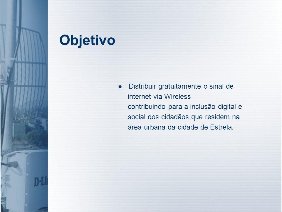 Objetivo Distribuir gratuitamente o sinal de internet via Wireless contribuindo para a inclusão digital e social dos cidadãos que residem na área urba