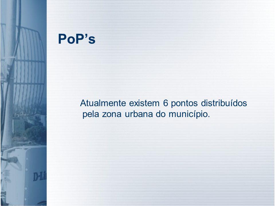 PoPs Atualmente existem 6 pontos distribuídos pela zona urbana do município.