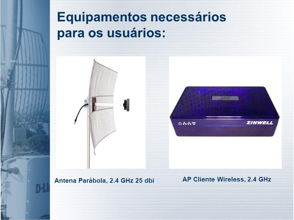 Antena Parábola, 2.4 GHz 25 dbi AP Cliente Wireless, 2.4 GHz Equipamentos necessários para os usuários: