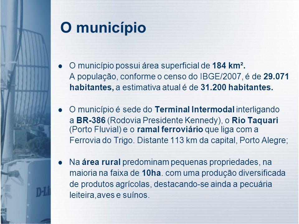 O município O município possui área superficial de 184 km². A população, conforme o censo do IBGE/2007, é de 29.071 habitantes, a estimativa atual é d