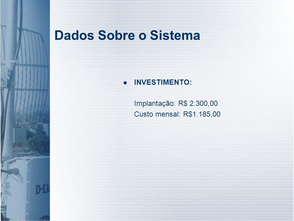 Dados Sobre o Sistema INVESTIMENTO: Implantação: R$ 2.300,00 Custo mensal: R$1.185,00