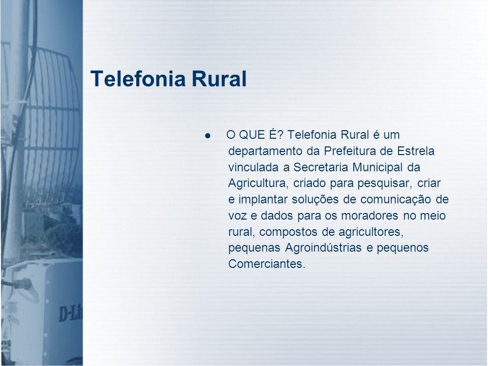 Telefonia Rural O QUE É? Telefonia Rural é um departamento da Prefeitura de Estrela vinculada a Secretaria Municipal da Agricultura, criado para pesqu