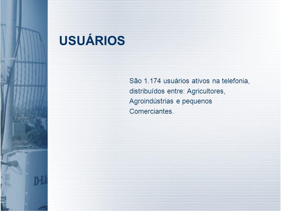 USUÁRIOS São 1.174 usuários ativos na telefonia, distribuídos entre: Agricultores, Agroindústrias e pequenos Comerciantes.