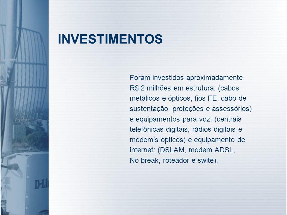 INVESTIMENTOS Foram investidos aproximadamente R$ 2 milhões em estrutura: (cabos metálicos e ópticos, fios FE, cabo de sustentação, proteções e assess