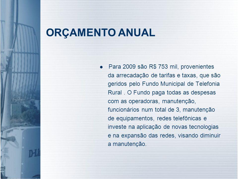 ORÇAMENTO ANUAL Para 2009 são R$ 753 mil, provenientes da arrecadação de tarifas e taxas, que são geridos pelo Fundo Municipal de Telefonia Rural. O F