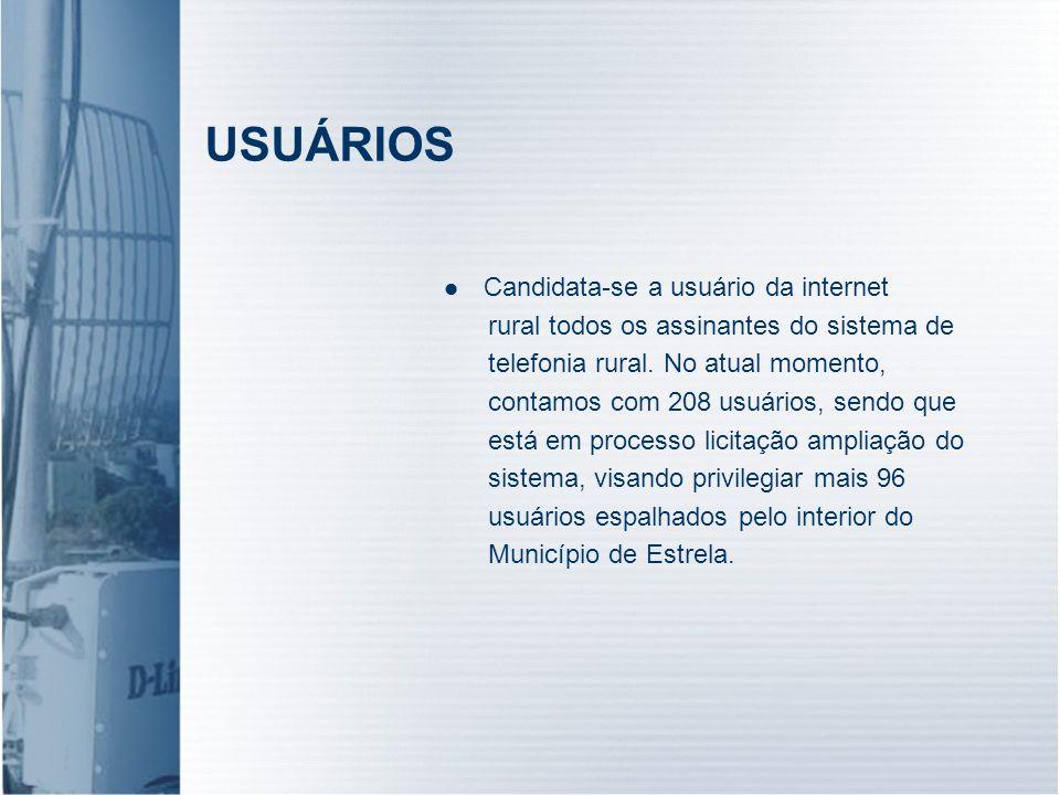 USUÁRIOS Candidata-se a usuário da internet rural todos os assinantes do sistema de telefonia rural. No atual momento, contamos com 208 usuários, send