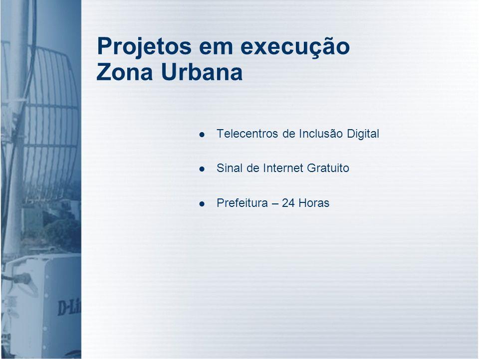 Projetos em execução Zona Urbana Telecentros de Inclusão Digital Sinal de Internet Gratuito Prefeitura – 24 Horas