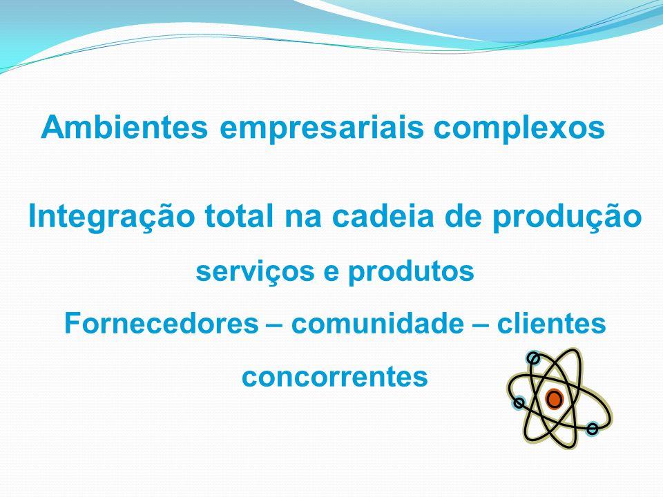 Ambientes empresariais complexos Integração total na cadeia de produção serviços e produtos Fornecedores – comunidade – clientes concorrentes