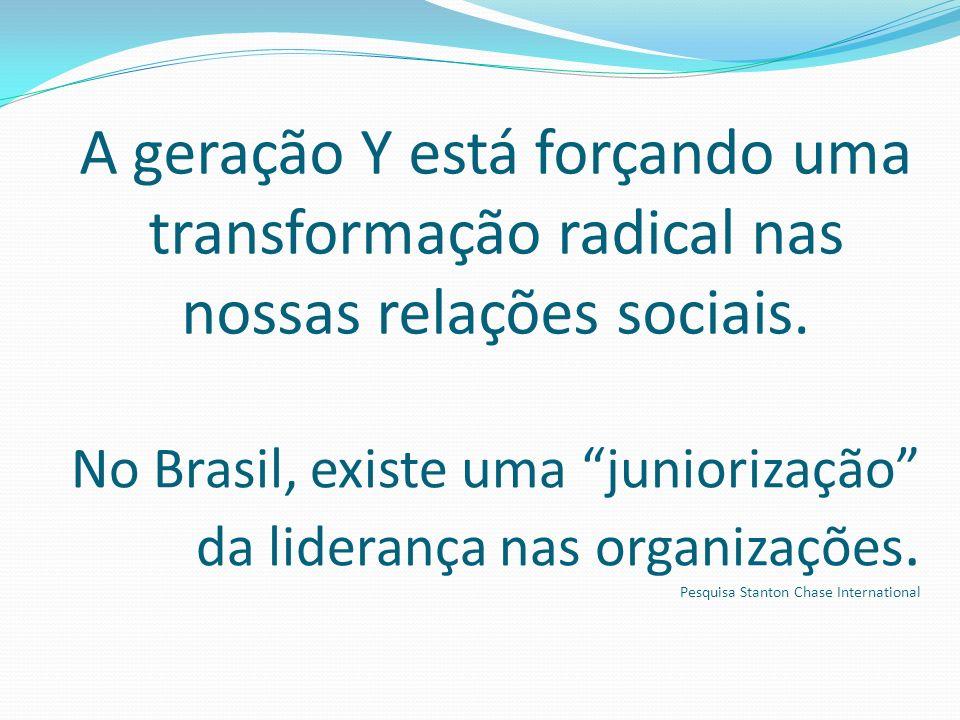 A geração Y está forçando uma transformação radical nas nossas relações sociais. No Brasil, existe uma juniorização da liderança nas organizações. Pes