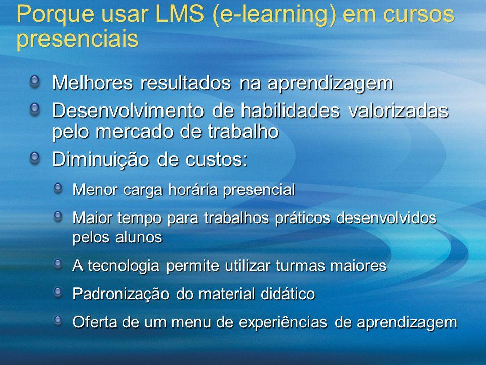 Porque usar LMS (e-learning) em cursos presenciais Melhores resultados na aprendizagem Desenvolvimento de habilidades valorizadas pelo mercado de trab