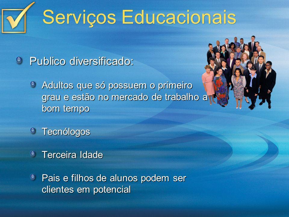 Serviços Educacionais Publico diversificado: Adultos que só possuem o primeiro grau e estão no mercado de trabalho a bom tempo Tecnólogos Terceira Ida