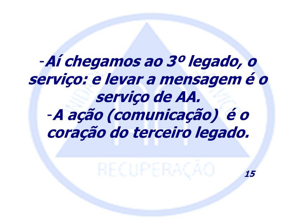 -Aí chegamos ao 3º legado, o serviço: e levar a mensagem é o serviço de AA. -A ação (comunicação) é o coração do terceiro legado. 15
