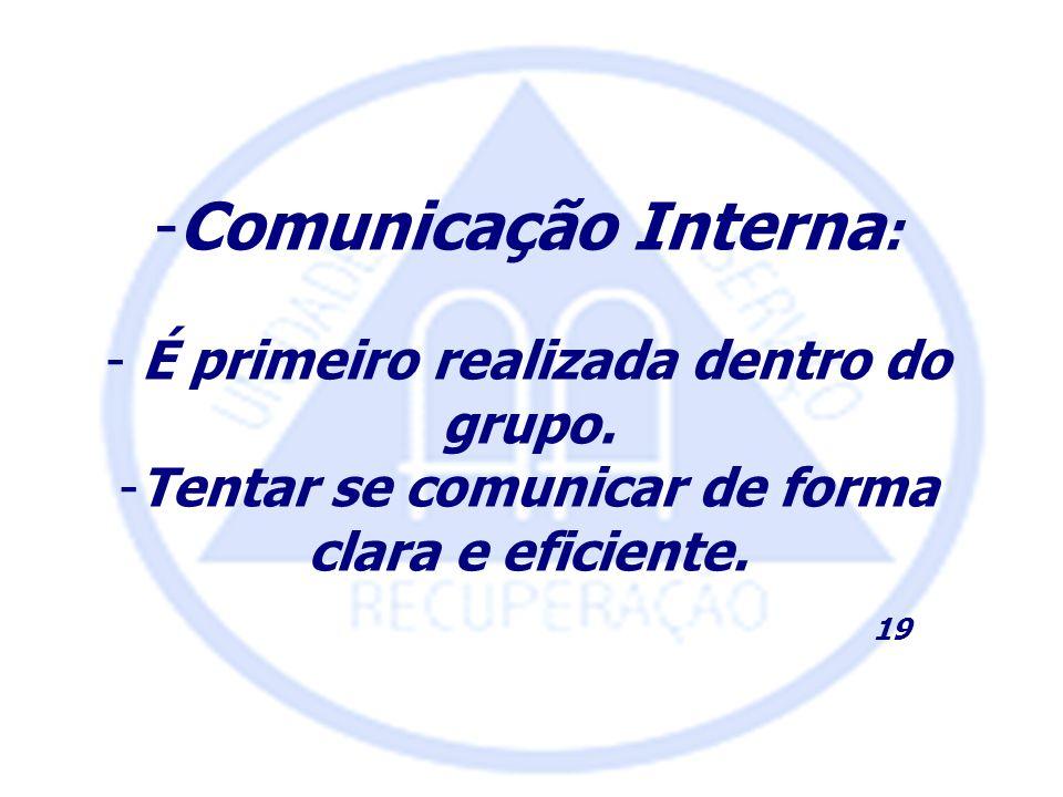 -Comunicação Interna : - É primeiro realizada dentro do grupo. -Tentar se comunicar de forma clara e eficiente. 19