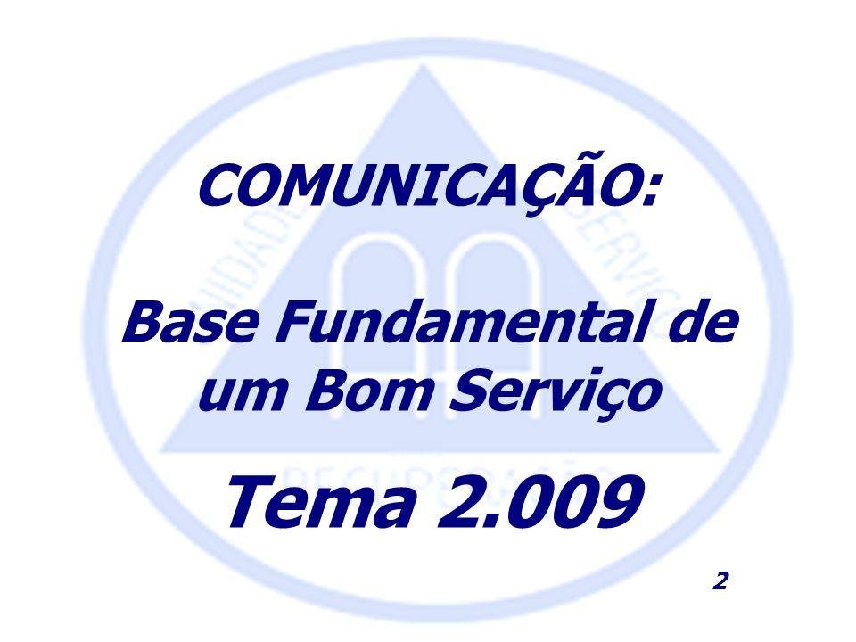 COMUNICAÇÃO: Base Fundamental de um Bom Serviço Tema 2.009 2