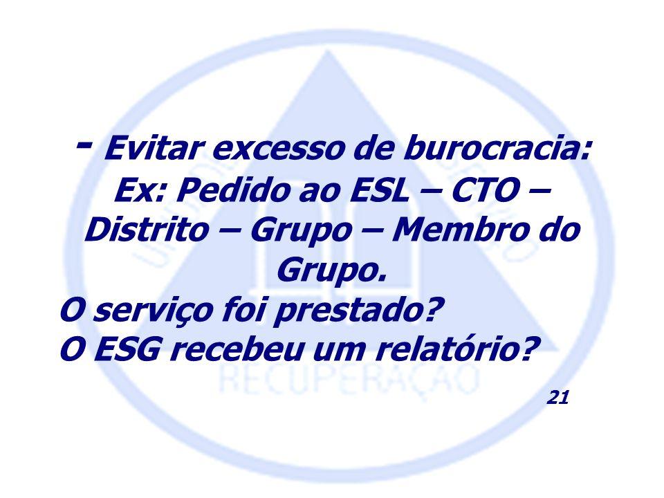 - Evitar excesso de burocracia: Ex: Pedido ao ESL – CTO – Distrito – Grupo – Membro do Grupo. O serviço foi prestado? O ESG recebeu um relatório? 21