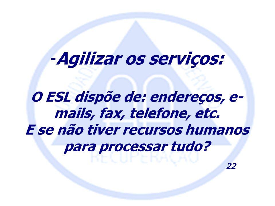 -Agilizar os serviços: O ESL dispõe de: endereços, e- mails, fax, telefone, etc. E se não tiver recursos humanos para processar tudo? 22