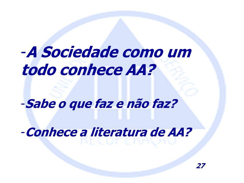 -A Sociedade como um todo conhece AA? -Sabe o que faz e não faz? -Conhece a literatura de AA? 27