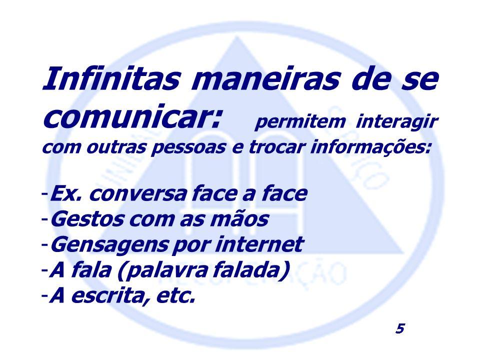 Infinitas maneiras de se comunicar: permitem interagir com outras pessoas e trocar informações: -Ex. conversa face a face -Gestos com as mãos -Gensage