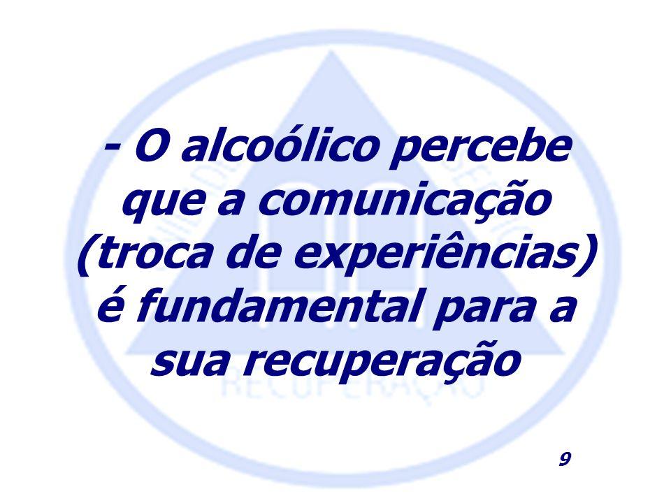 - O alcoólico percebe que a comunicação (troca de experiências) é fundamental para a sua recuperação 9