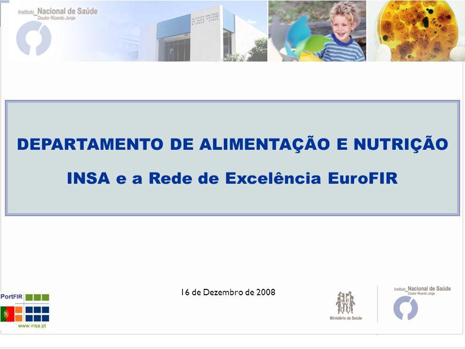 16 de Dezembro de 2008 DEPARTAMENTO DE ALIMENTAÇÃO E NUTRIÇÃO INSA e a Rede de Excelência EuroFIR