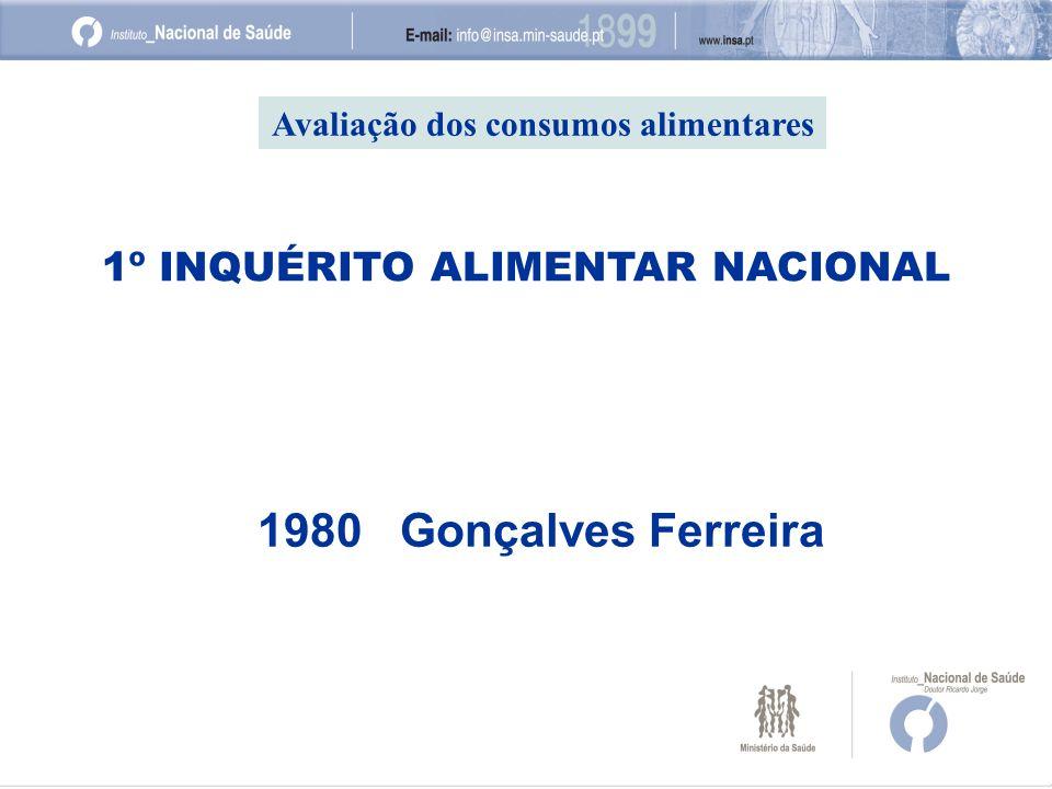 1980 Gonçalves Ferreira 1º INQUÉRITO ALIMENTAR NACIONAL Avaliação dos consumos alimentares