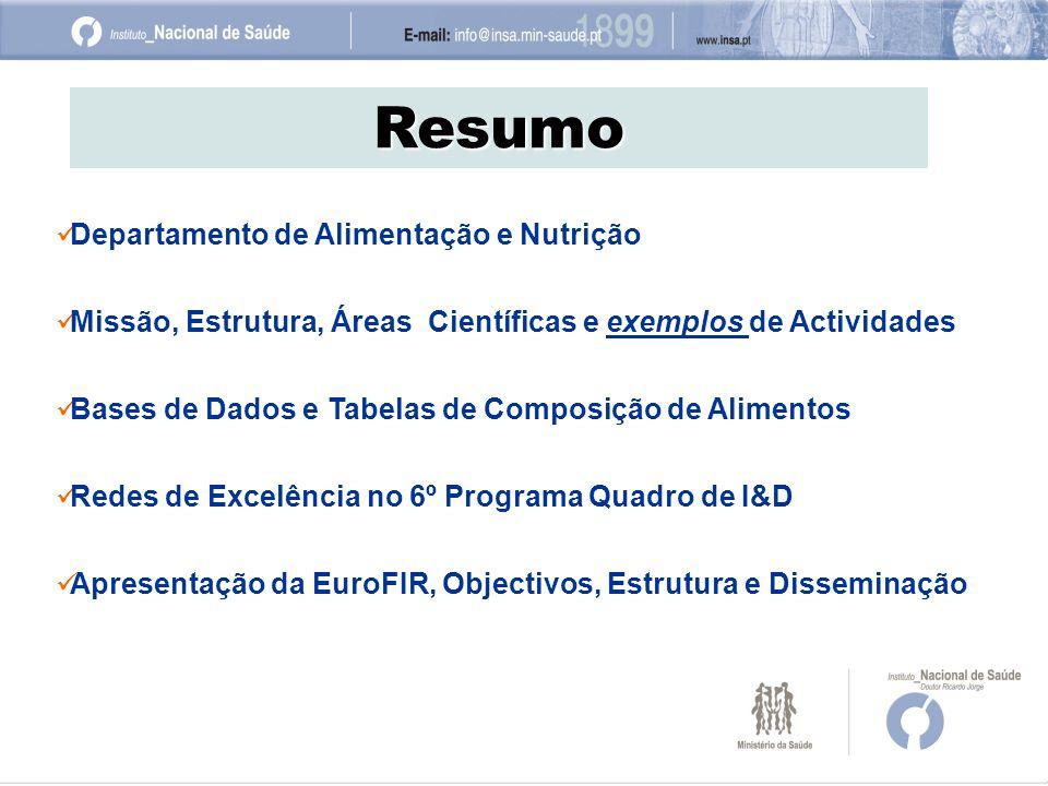 Resumo Departamento de Alimentação e Nutrição Missão, Estrutura, Áreas Científicas e exemplos de Actividades Bases de Dados e Tabelas de Composição de