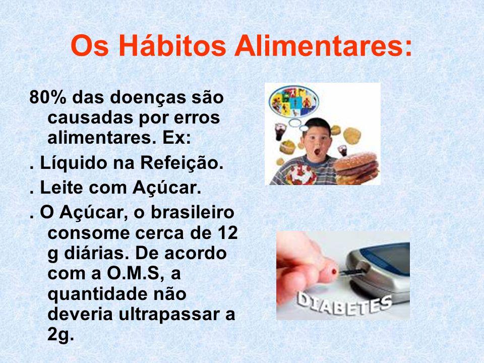 Os Hábitos Alimentares: 80% das doenças são causadas por erros alimentares. Ex:. Líquido na Refeição.. Leite com Açúcar.. O Açúcar, o brasileiro conso