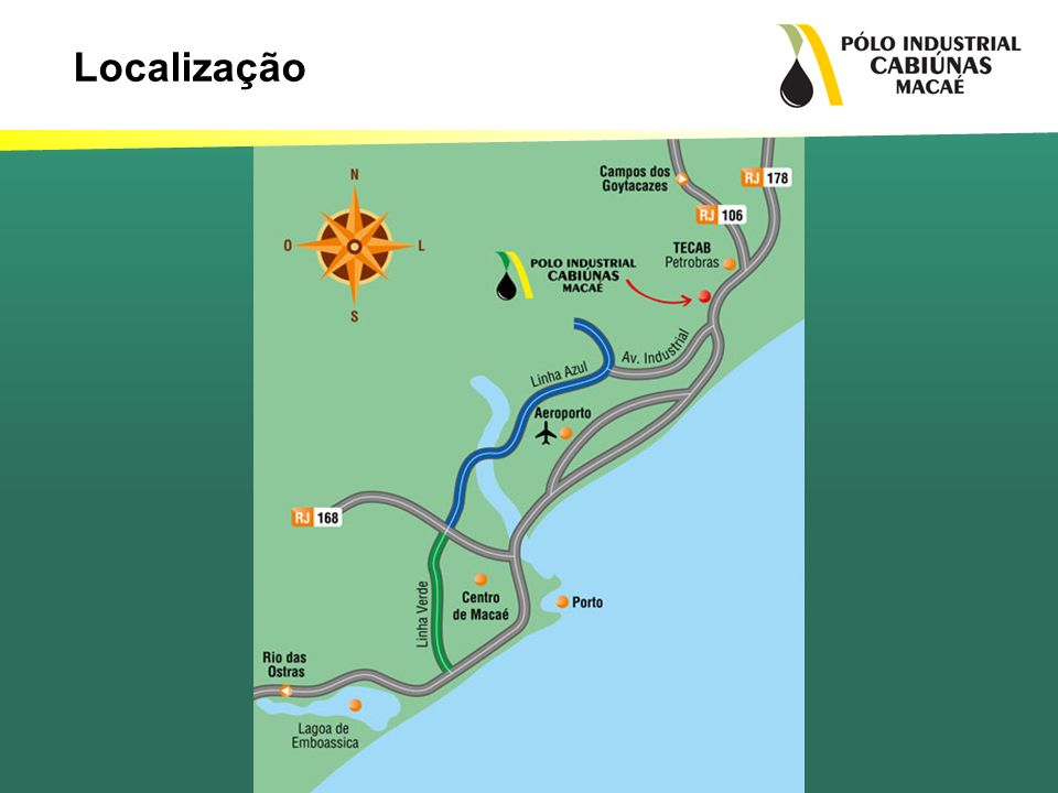A primeira fase do empreendimento foi entregue no final de 2010, e agora a Cabiúnas da inicio a 2ª Fase do Pólo e a implantando da Área Comum que vai servir de apoio para as empresas que estão se instalando no Pólo Industrial Cabiúnas.