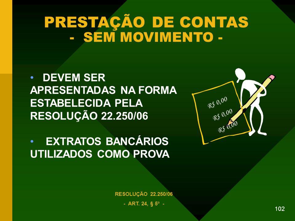 102 PRESTAÇÃO DE CONTAS - SEM MOVIMENTO - DEVEM SER APRESENTADAS NA FORMA ESTABELECIDA PELA RESOLUÇÃO 22.250/06 EXTRATOS BANCÁRIOS UTILIZADOS COMO PROVA RESOLUÇÃO 22.250/06 - ART.