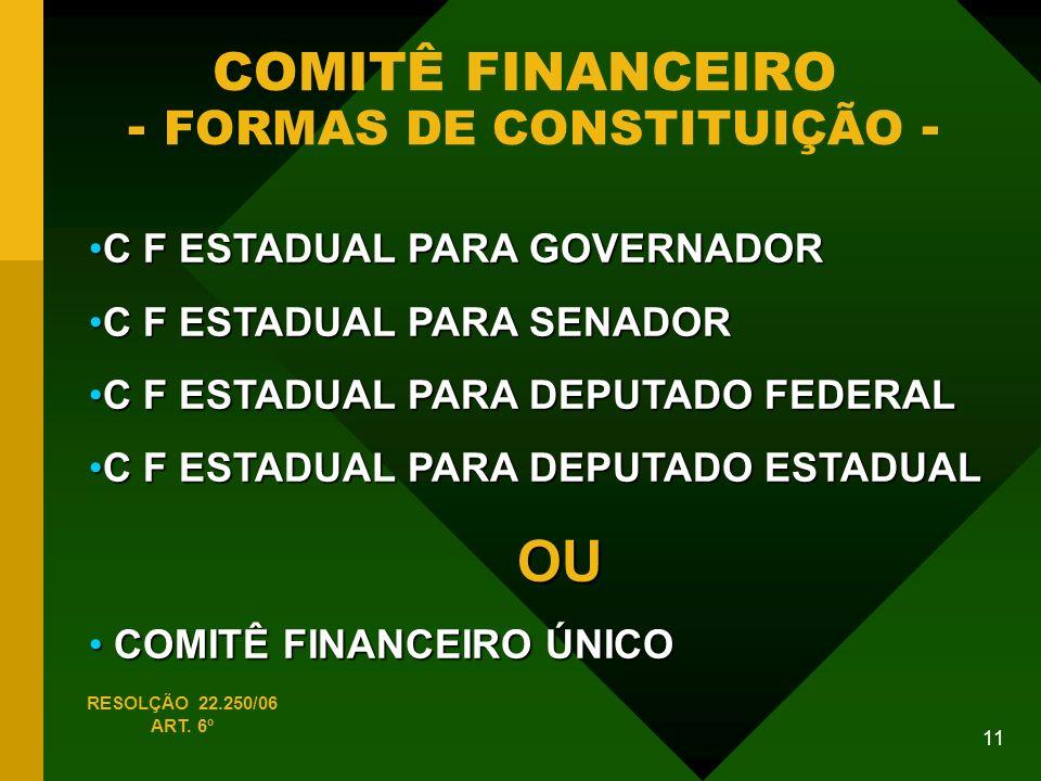 11 COMITÊ FINANCEIRO - FORMAS DE CONSTITUIÇÃO - C F ESTADUAL PARA GOVERNADORC F ESTADUAL PARA GOVERNADOR C F ESTADUAL PARA SENADORC F ESTADUAL PARA SENADOR C F ESTADUAL PARA DEPUTADO FEDERALC F ESTADUAL PARA DEPUTADO FEDERAL C F ESTADUAL PARA DEPUTADO ESTADUALC F ESTADUAL PARA DEPUTADO ESTADUALOU COMITÊ FINANCEIRO ÚNICO COMITÊ FINANCEIRO ÚNICO RESOLÇÃO 22.250/06 ART.