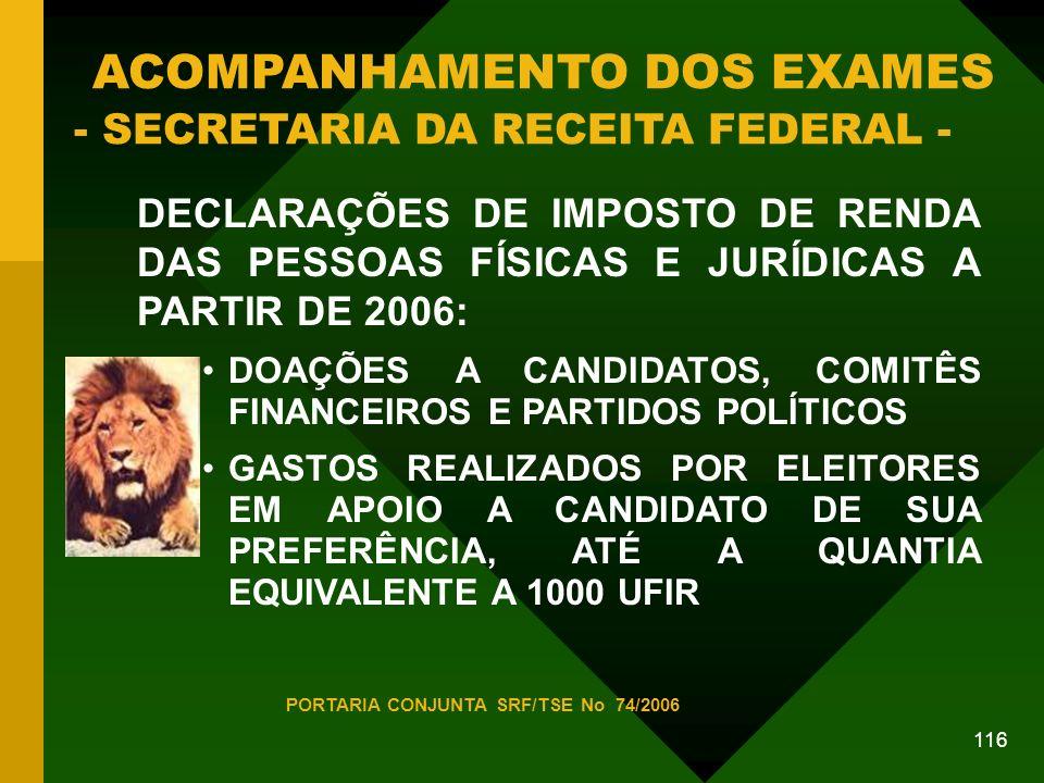 116 ACOMPANHAMENTO DOS EXAMES - SECRETARIA DA RECEITA FEDERAL - DECLARAÇÕES DE IMPOSTO DE RENDA DAS PESSOAS FÍSICAS E JURÍDICAS A PARTIR DE 2006: DOAÇÕES A CANDIDATOS, COMITÊS FINANCEIROS E PARTIDOS POLÍTICOS GASTOS REALIZADOS POR ELEITORES EM APOIO A CANDIDATO DE SUA PREFERÊNCIA, ATÉ A QUANTIA EQUIVALENTE A 1000 UFIR PORTARIA CONJUNTA SRF/TSE No 74/2006