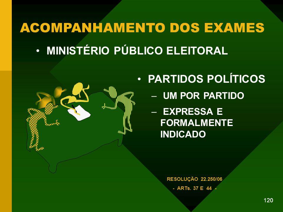 120 ACOMPANHAMENTO DOS EXAMES PARTIDOS POLÍTICOS – UM POR PARTIDO – EXPRESSA E FORMALMENTE INDICADO RESOLUÇÃO 22.250/06 - ARTs.