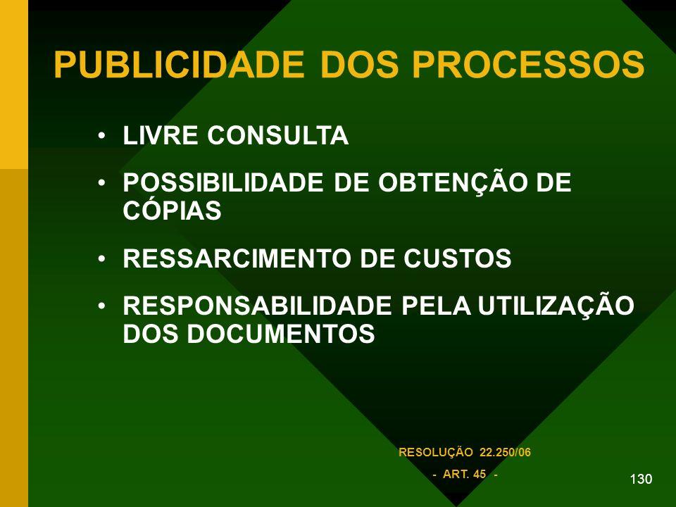 130 PUBLICIDADE DOS PROCESSOS LIVRE CONSULTA POSSIBILIDADE DE OBTENÇÃO DE CÓPIAS RESSARCIMENTO DE CUSTOS RESPONSABILIDADE PELA UTILIZAÇÃO DOS DOCUMENTOS RESOLUÇÃO 22.250/06 - ART.