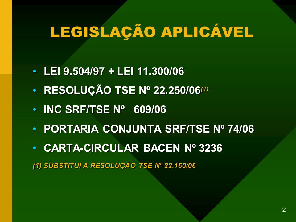 3 PROVIDÊNCIAS PRELIMINARES AO INÍCIO DA CAMPANHA RESOLUÇÃO 22.250/06 ART.
