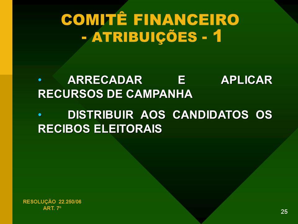 25 COMITÊ FINANCEIRO - ATRIBUIÇÕES - 1 RESOLUÇÃO 22.250/06 ART.