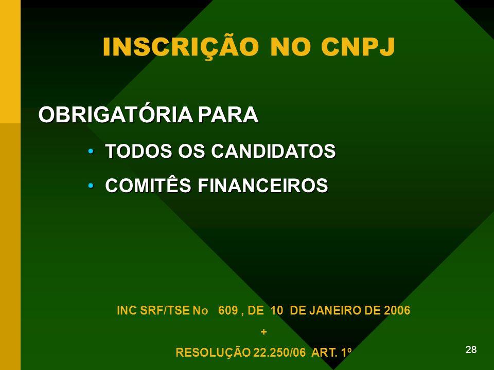 28 INSCRIÇÃO NO CNPJ OBRIGATÓRIA PARA TODOS OS CANDIDATOS TODOS OS CANDIDATOS COMITÊS FINANCEIROS COMITÊS FINANCEIROS INC SRF/TSE No 609, DE 10 DE JANEIRO DE 2006 + RESOLUÇÃO 22.250/06 ART.