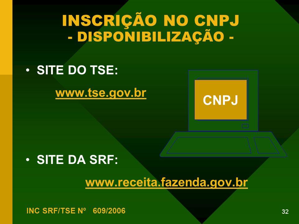 32 INSCRIÇÃO NO CNPJ - DISPONIBILIZAÇÃO - INC SRF/TSE Nº 609/2006 SITE DO TSE: www.tse.gov.br SITE DA SRF: www.receita.fazenda.gov.br CNPJ