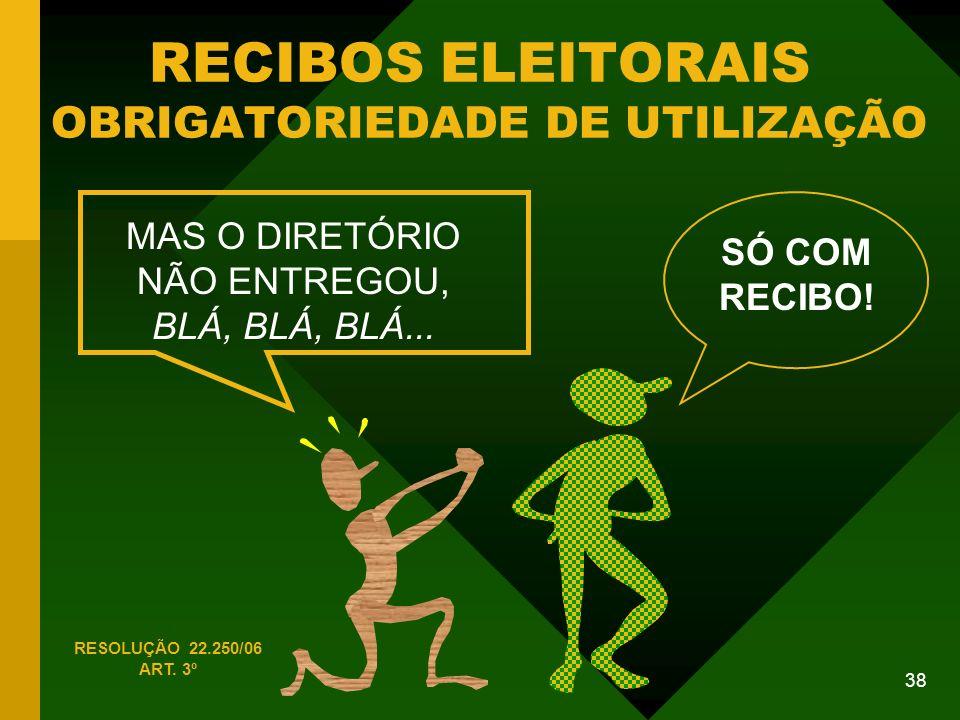 38 RECIBOS ELEITORAIS OBRIGATORIEDADE DE UTILIZAÇÃO RESOLUÇÃO 22.250/06 ART.