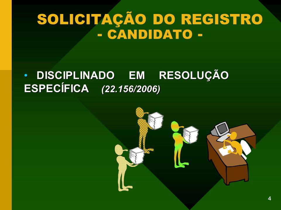 15 COMITÊ FINANCEIRO DE COLIGAÇÃO PARTIDÁRIA RESOLUÇÃO 22.250/06 ART.