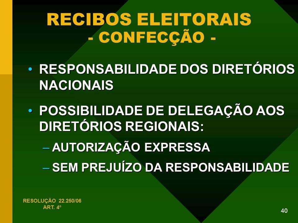40 RECIBOS ELEITORAIS - CONFECÇÃO - RESOLUÇÃO 22.250/06 ART.