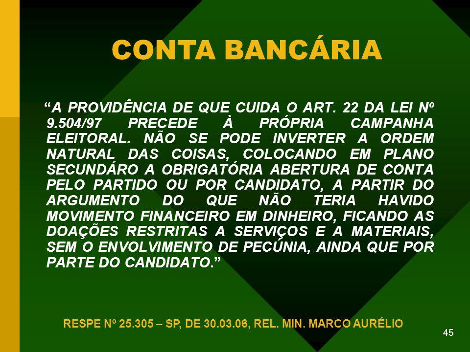 45 CONTA BANCÁRIA RESPE Nº 25.305 – SP, DE 30.03.06, REL.