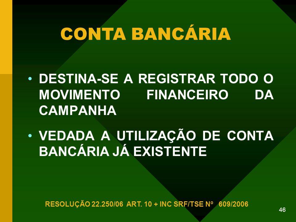 46 DESTINA-SE A REGISTRAR TODO O MOVIMENTO FINANCEIRO DA CAMPANHA VEDADA A UTILIZAÇÃO DE CONTA BANCÁRIA JÁ EXISTENTE CONTA BANCÁRIA RESOLUÇÃO 22.250/06 ART.