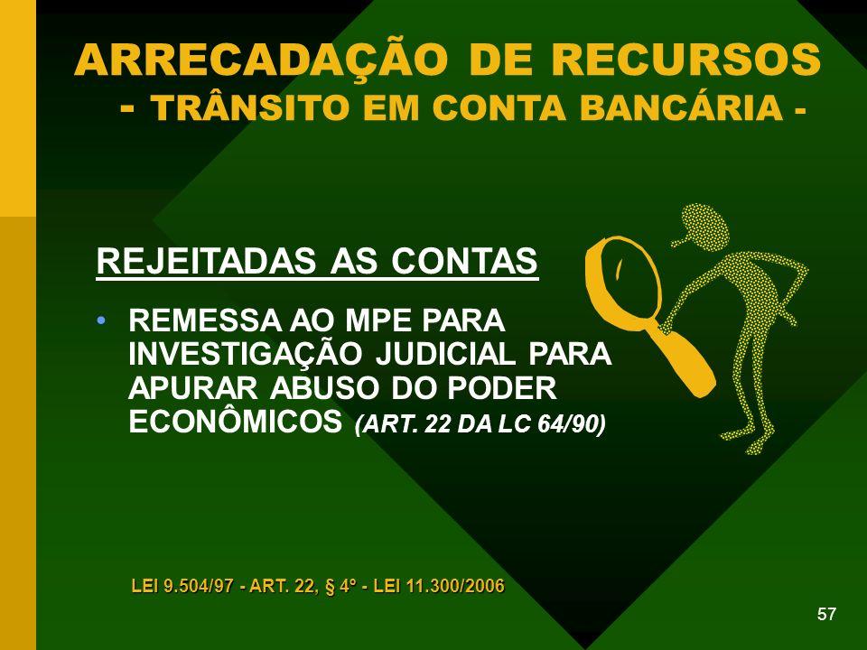 57 REJEITADAS AS CONTAS REMESSA AO MPE PARA INVESTIGAÇÃO JUDICIAL PARA APURAR ABUSO DO PODER ECONÔMICOS (ART.